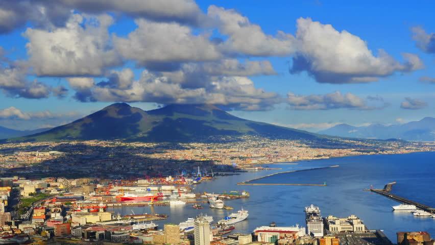 Naples skyline, port and Vesuvius volcano view, time-lapse.