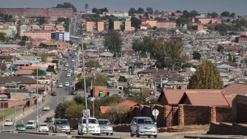 Establishing wide of Alexandra Township looking down London Road,Johannesburg