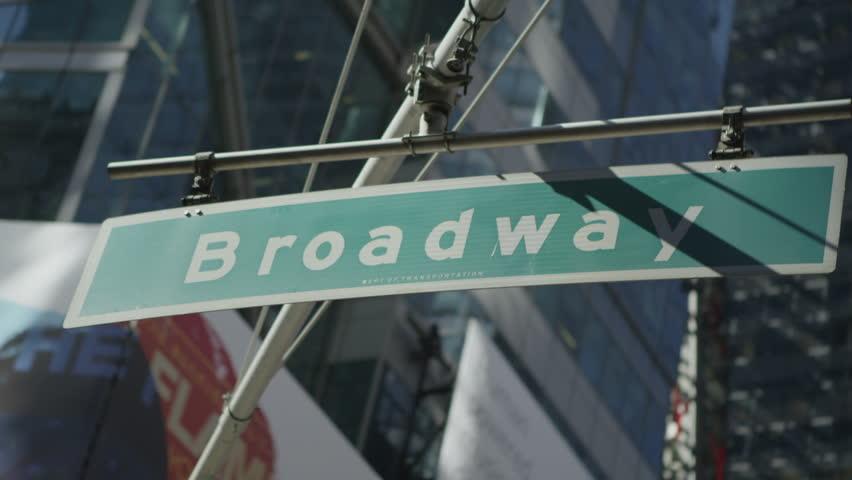 New York City Broadway signpost. Location: New York City, United States