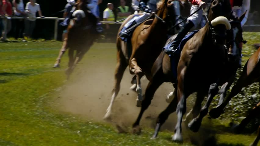 SAARBRÜCKEN - AUG 15, 2013: Horse racing in Germany. Part 2. Slow Motion.