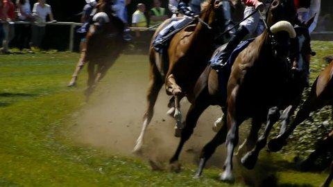 SAARBRÜCKEN - AUG 15, 2013: Horse racing in Germany. Part 2. Slow Motion.