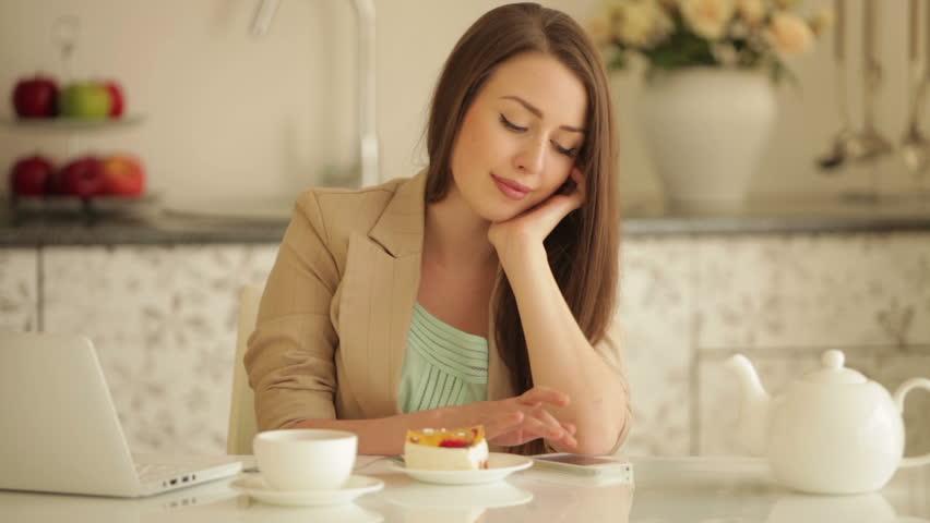 nice Girl Table Part - 12: Cute Girl Sitting at Kitchen Video de stock (totalmente libre de regalías)  4464059 | Shutterstock