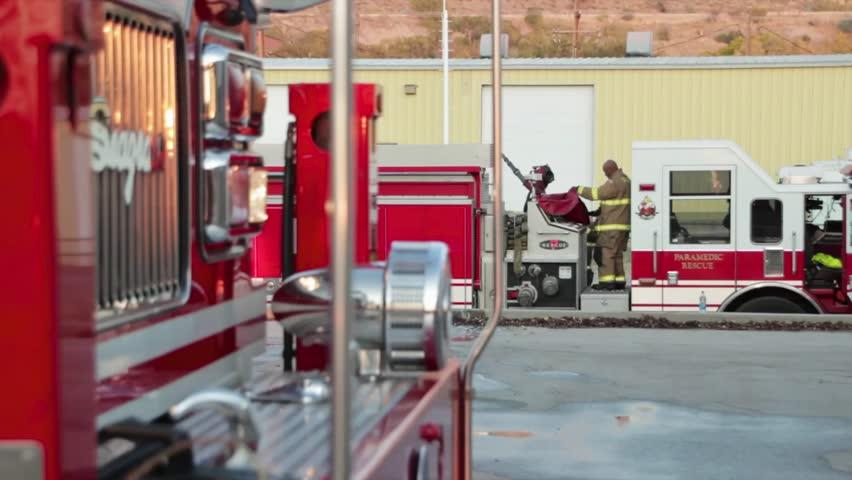 Firefighters fight a warehouse fire in Salt lake City, Utah