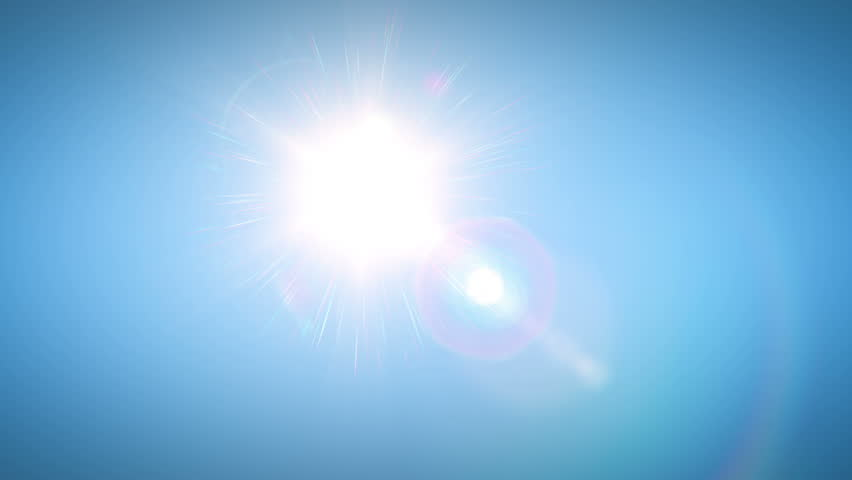 Sun moving across the clear blue sky. HD 1080.