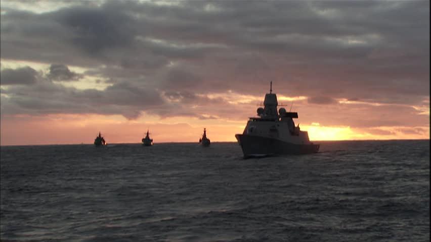 Military, Warships at sunset
