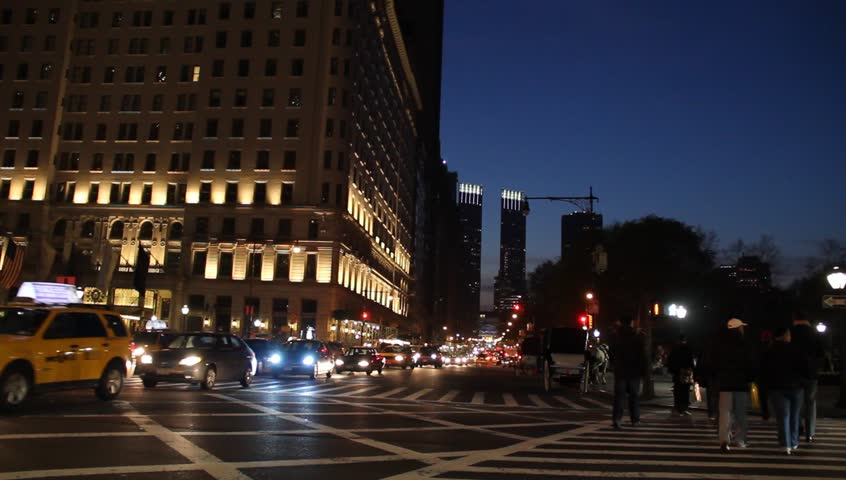 Central Park South in New York City at Night circa 2012
