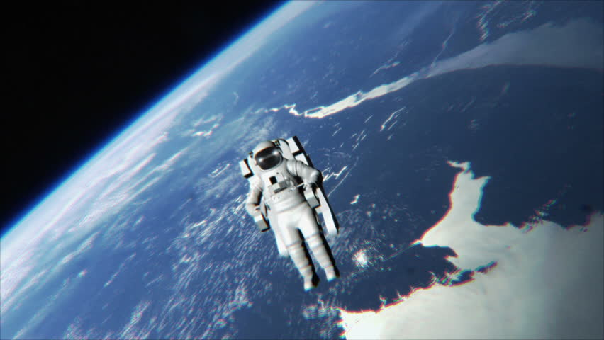 Astronaut drifting in space