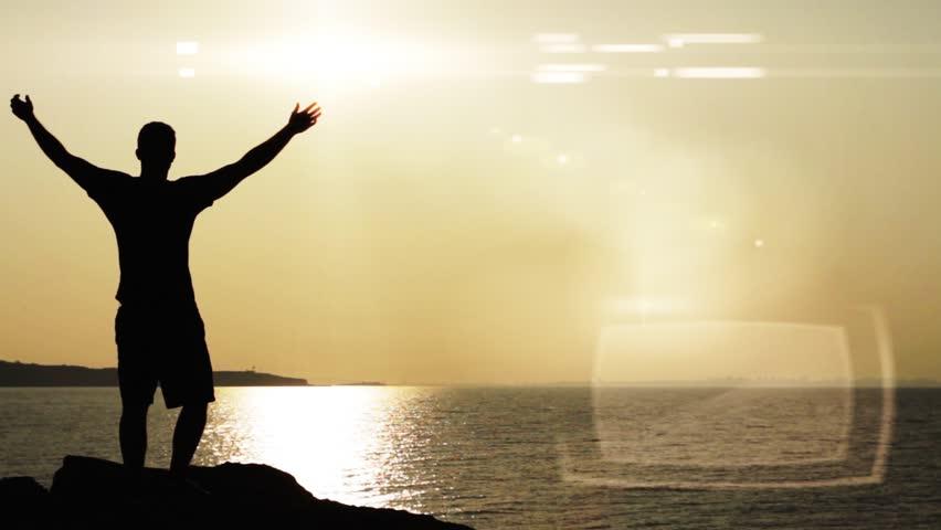 Worship Prayer Pose Man Silhouette Arriving Destination Concpet | Shutterstock HD Video #4540649