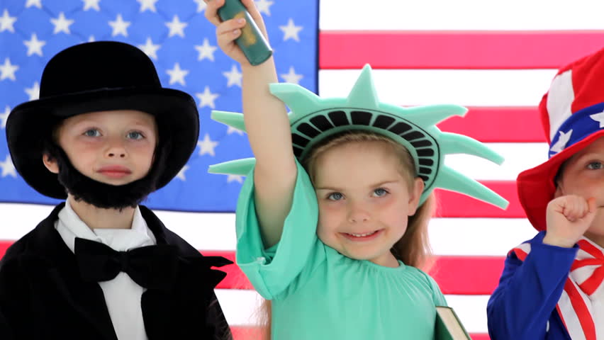 Children dressed up like patriotic characters