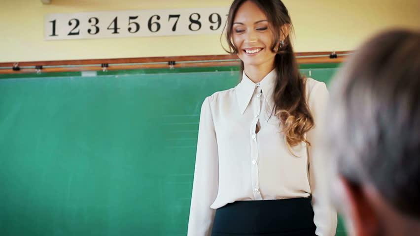 Young Attractive Female Teacher Of Maths Interacting With -3646