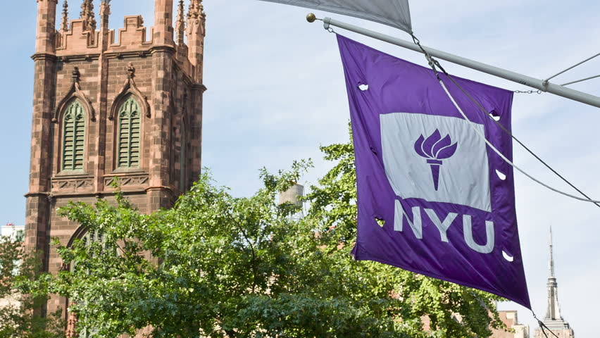 NEW YORK - AUGUST 30: NYU flag waving on August 30, 2013 in New York. NYU is a private, nonsectarian American research university based in New York City.
