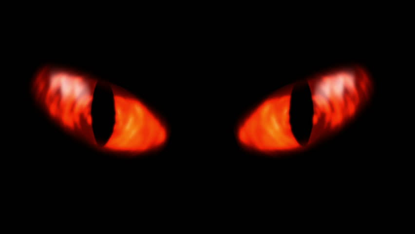 Animation of evil looking fiery eyes.