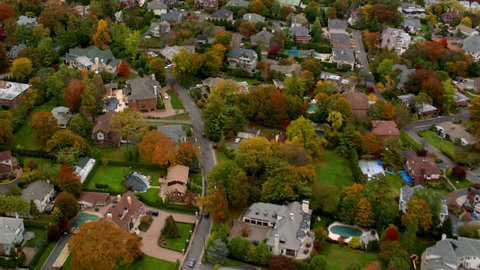 Aerial shot of New York suburb