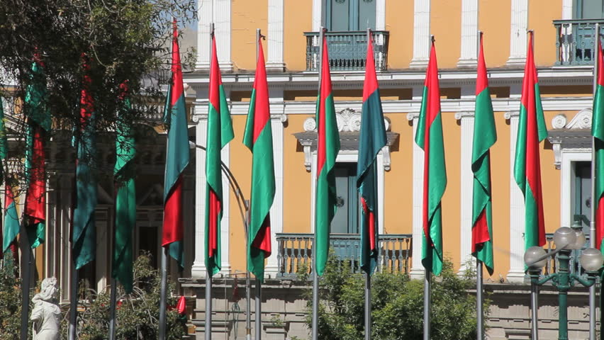 La Paz flags at government palace | Shutterstock HD Video #4595399