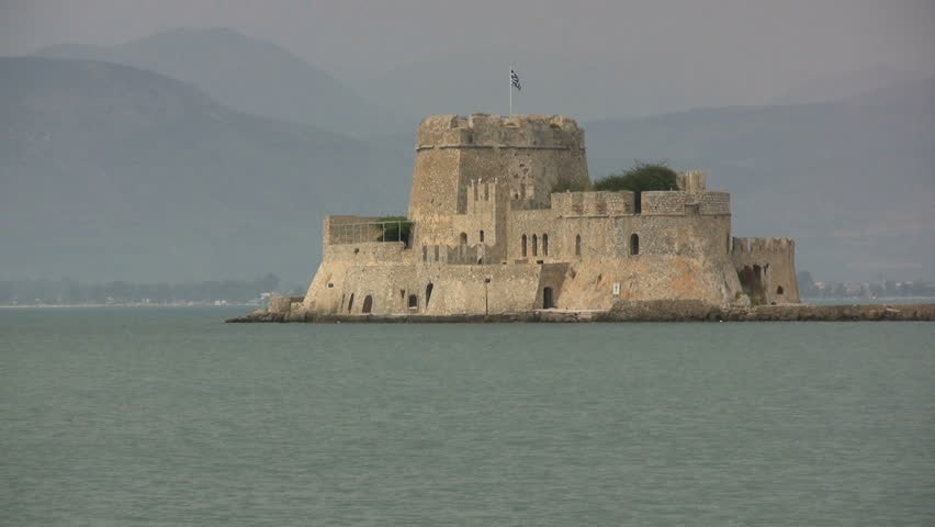 Greece Nafplion waterfront and castle