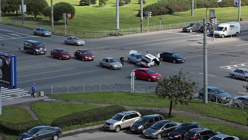 SAINT-PETERSBURG, RUSSIA-AUGUST 16, 2013: Car Accident In Street ...