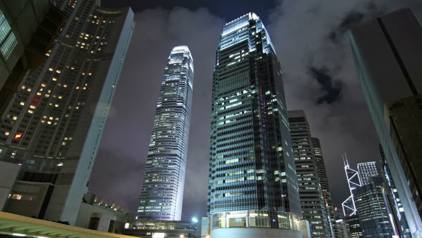 Timelapse shot. Contemporary commercial building in Hong Kong at night.   Shutterstock HD Video #462139