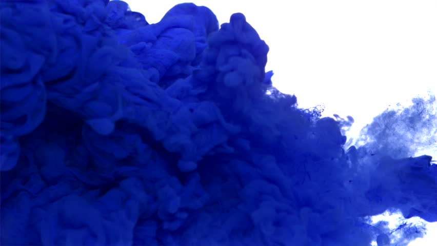 Dropping blue ink in water shooting with high speed camera, phantom flex.