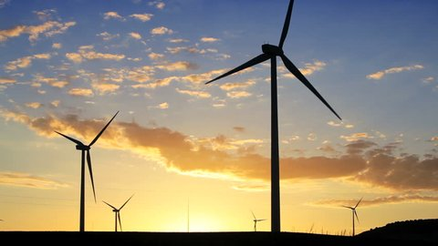 A wind farm of wind turbines creating green energy in Andalucia, Spain, Europe