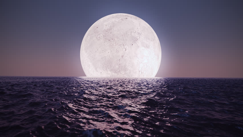 Animation Presents Bright Moon Reflecting Stock Footage -4583