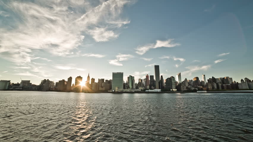 NEW YORK - SEPTEMBER 9: Manhattan skyscrapers on September 9, 2013 in New York. Manhattan is New York City's smallest yet most populous of its five boroughs. | Shutterstock HD Video #4652369
