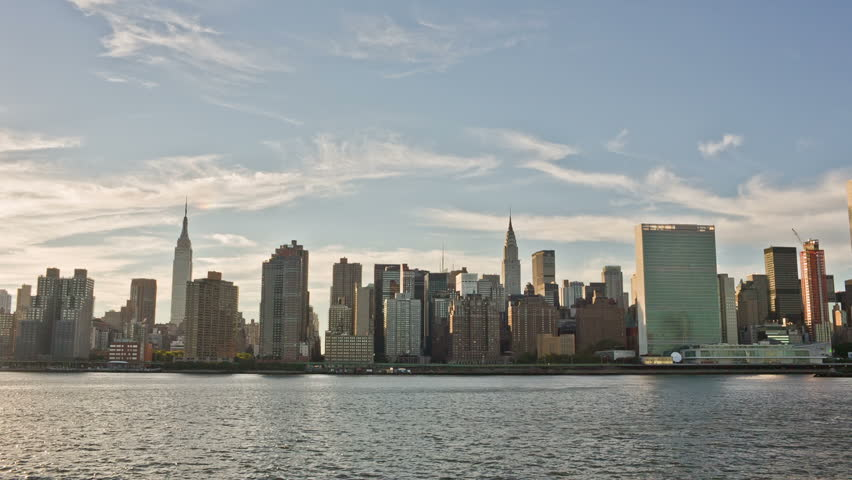 NEW YORK - SEPTEMBER 9: Manhattan Skyline during the day on September 9, 2013 in New York. Manhattan is New York City's smallest yet most populous of its five boroughs.   Shutterstock HD Video #4652399