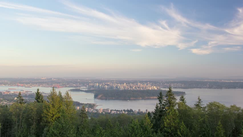 Urban Scenic Cityscape View and Lion's Gate Bridge in Burrard Inlet of Vancouver BC Canada