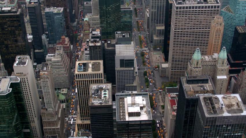New York City buildings, overhead aerial shot