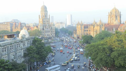 India - January 2011: Time Lapse  of traffic congestion at central Mumbai Heritage buildings, Victoria Terminus, Mumbai, India in January, 2011