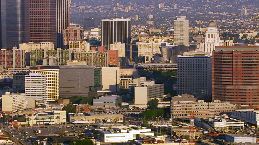 Aerial view of downtown Los Angeles buildings