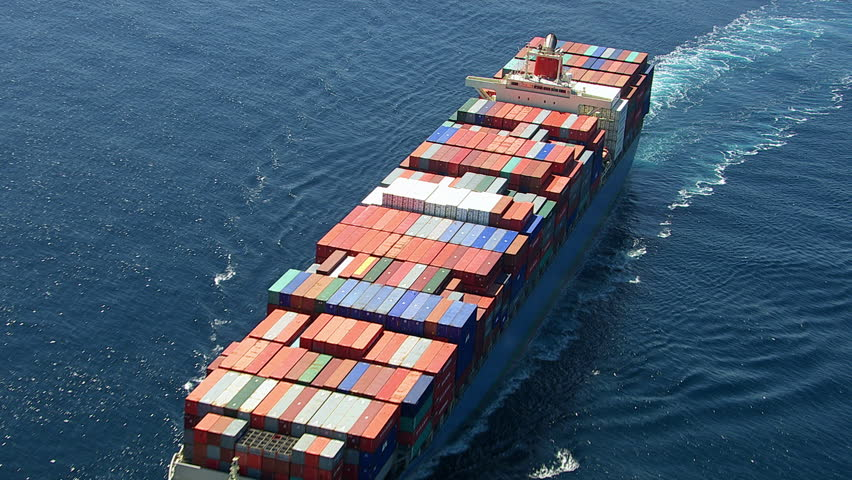 Aerial shot of container ship in ocean #4664129