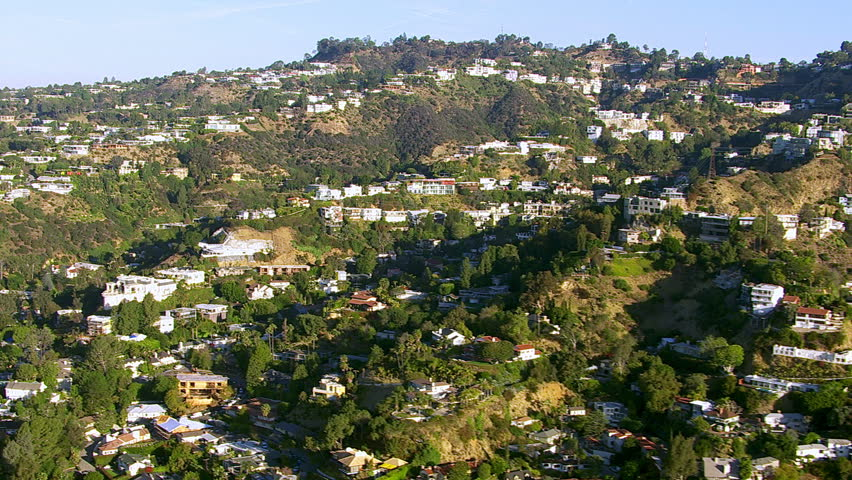 Aerial shot of Hollywood Hills, California