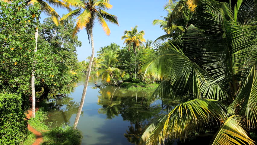 Man rowing a shallow river canoe along a rural tributary in the backwater of Kerala near Alleppey, India