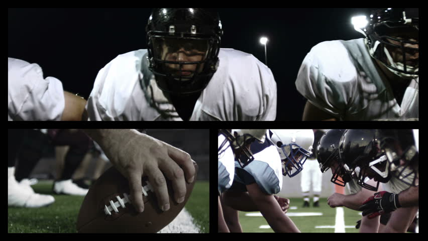 Montage collage of football players doing various football actions during a game