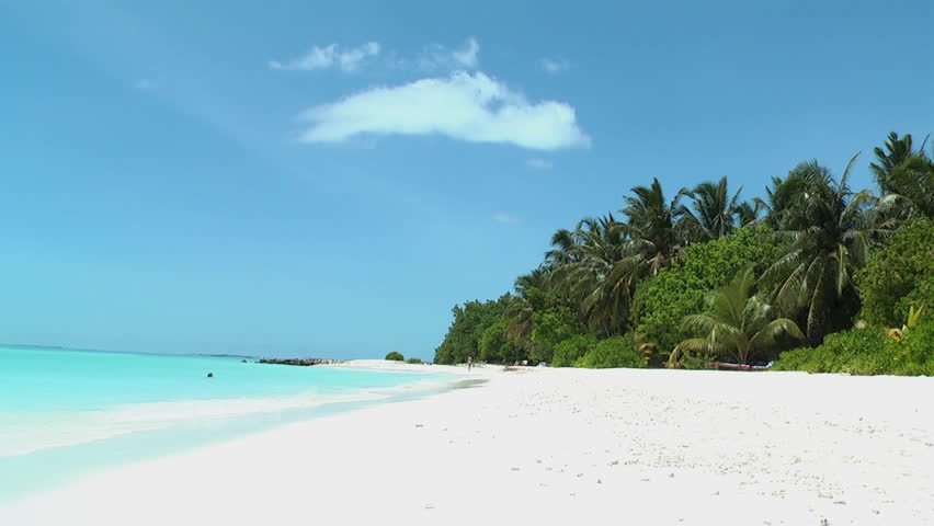 Tropical beach with white sand, turquoise sea and coconut palm trees | Shutterstock HD Video #47119