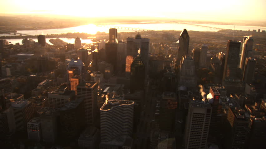 Aerial shot of downtown Montreal at sunrise