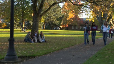 Students on fall campus