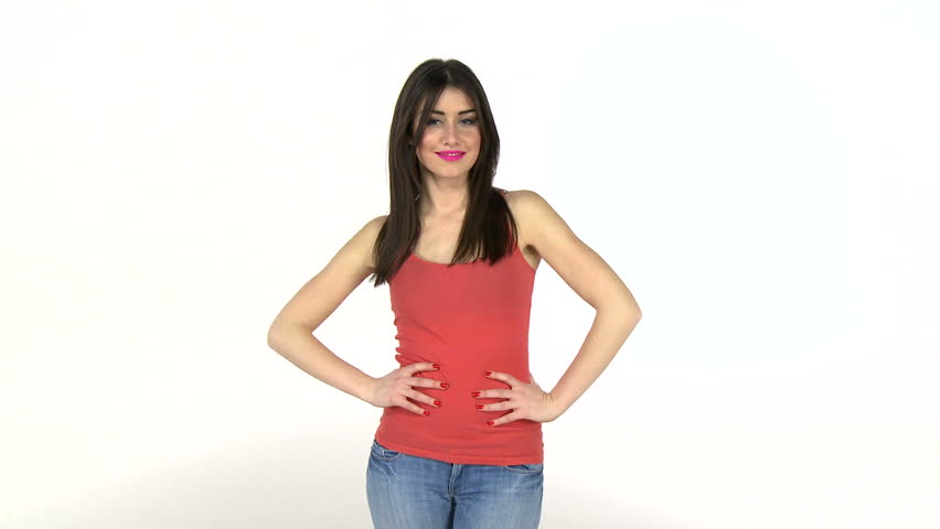 Attractive, casually dressed woman flirting with camera. High definition video shot on white studio background.