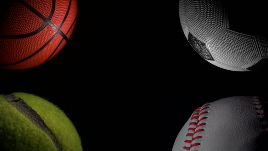 Athletic Backgrounds: Sports Balls Against Black Loop Stock Footage Video (100