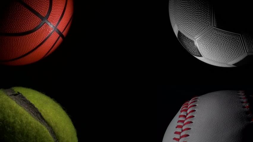 Sports Wallpaper Hd Black: Sports Balls Against Black Loop Stock Footage Video (100