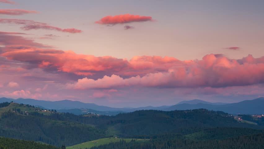 Time lapse clip. Majestic mountain landscape with colorful cloud. Dramatic sky. Carpathian, Ukraine, Europe. Beauty world. HD video (High Definition)