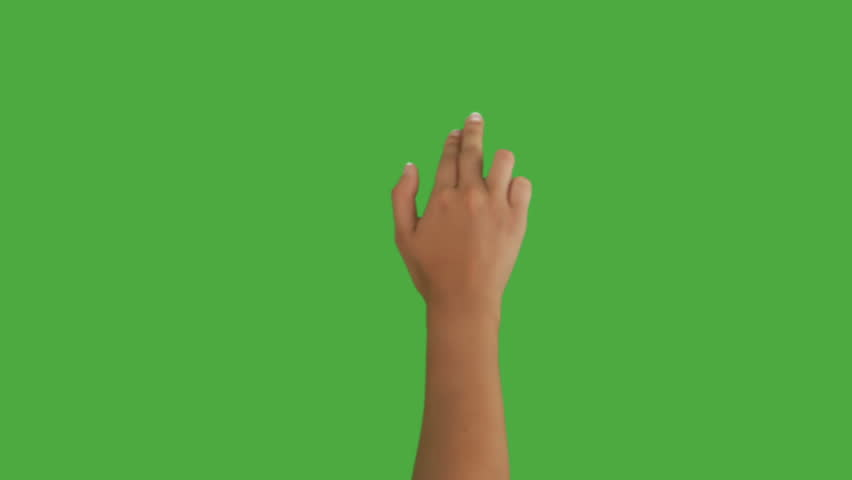 Isolated shot of a female hand on a green screen doing touch screen gestures, scrolling right