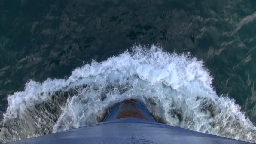 Bow of a cargo ship cutting through the water on the Caspian Sea