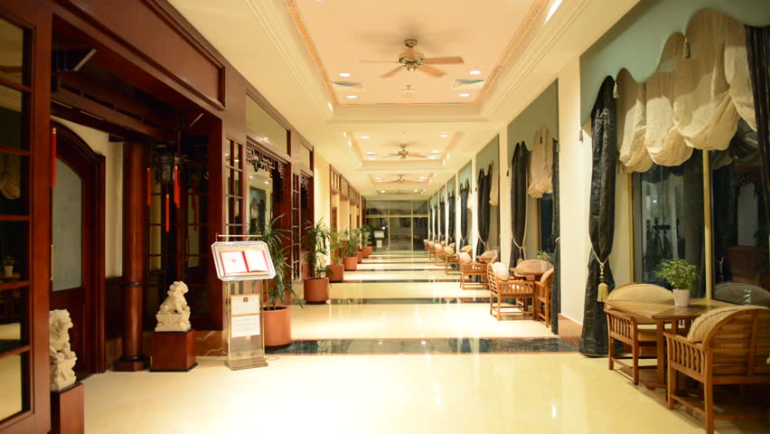 The Entrance In Restaurant And Interior Of Luxury Hotel With Working Ventilators Ajman UAE