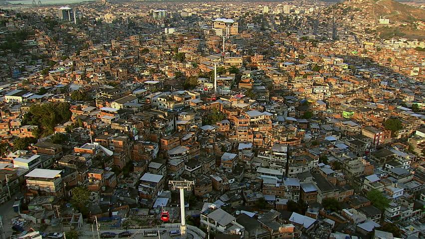Aerial shot of gondola over favela, Rio de Janeiro, Brazil