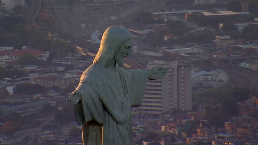 Closeup aerial view of Christ the Redemeer Statue at Sunset, Rio de Janeiro, Brazil