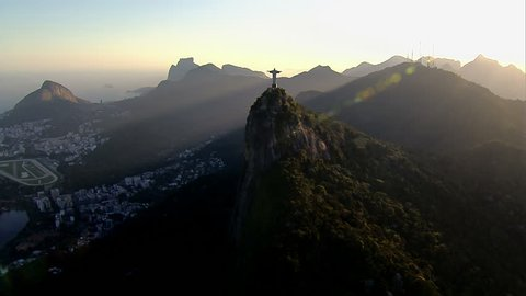 Wide angle aerial view of Christ the Redemeer Statueat sunset, Rio de Janeiro, Brazil