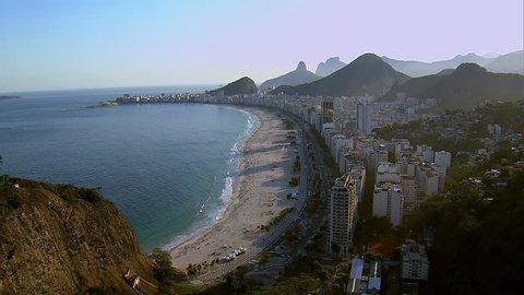 Aerial view of Copacabana beach, Rio de Janeiro, Brazil