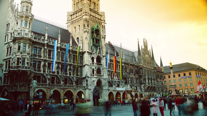 MUNICH, GERMANY - May 3: The historical town hall on the main square Marienplatz in the center of the city on May 3, 2013 in Munich, Germany.