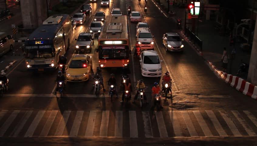 Bangkok dowtown traffic in Thailand
